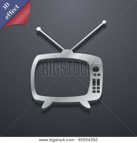 Retro Tv Mode Icon Symbol. 3D Style. Trendy, Modern Design With Space For Your Text Vector