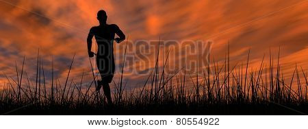 Concept or conceptual human male or young man black silhouette running happy in summer grass over sky at sunset or sunrise background banner