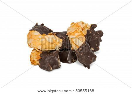 Biscuits Halfway Into Chocolate Half Nuts