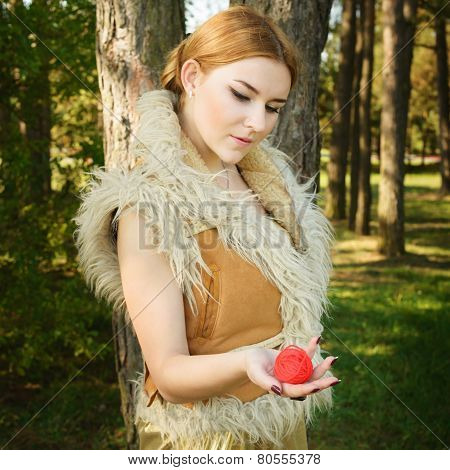 Fairy Tale About Princess With Fatal Ball Of Threads In Wood