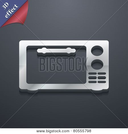 Microwave Oven Icon Symbol. 3D Style. Trendy, Modern Design With Space For Your Text Vector