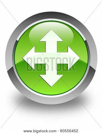 Move Icon Glossy Green Round Button