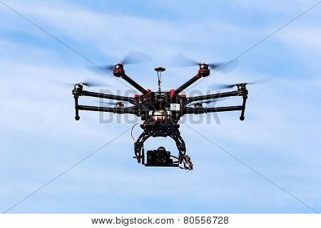 Dji S900 Drone In Flight With A Mounted Sony A7  Edition Digital Camera In Athens, Greece