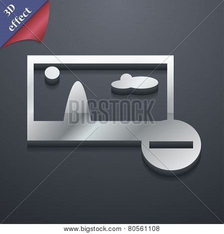 Minus File Jpg Icon Symbol. 3D Style. Trendy, Modern Design With Space For Your Text Vector