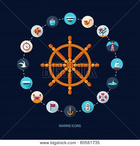 Set of vintage flat design modern nautical, marine icons