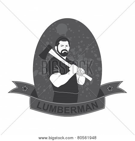 stylish logo lumberjack with an ax