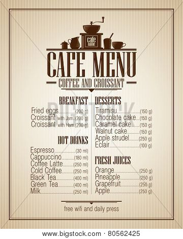 Cafe menu list with dishes name, retro style design.