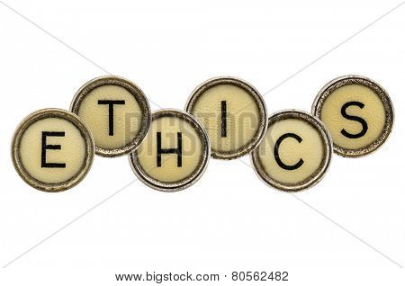 ethics word in old round typewriter keys isolated on white
