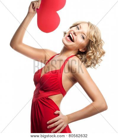 portrait of attractive  caucasian smiling young woman blond isolated on white studio shot with heart red dress