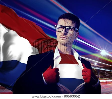 Superhero Businessman Netherlands Flag Patriotism National Flag Concept