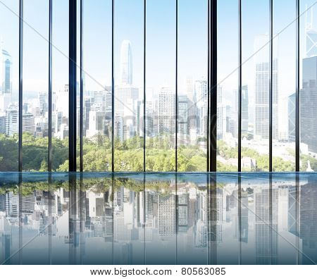 Urban Scene Skyline Morning View Metropolis Concept