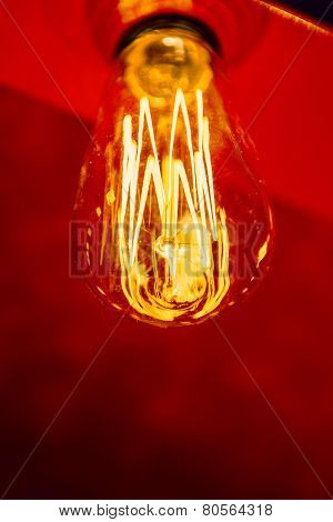 Red Light Bulb Glowing