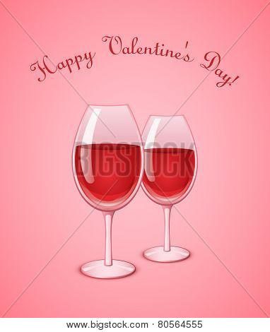 Valentine wineglasses with red wine on pink background. Wine glass vector illustration
