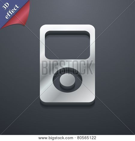 Portable Musical Player Icon Symbol. 3D Style. Trendy, Modern Design With Space For Your Text Vector