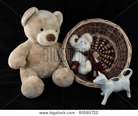Teddy Bear with Rat Buddy and Cow and Basket
