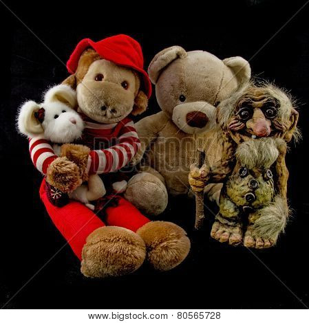 Troll with Teddy Bear Monkey and Rat buddies