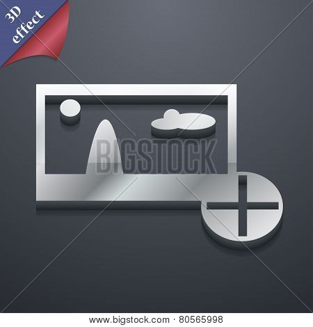 Plus, Add File Jpg  Icon Symbol. 3D Style. Trendy, Modern Design With Space For Your Text Vector