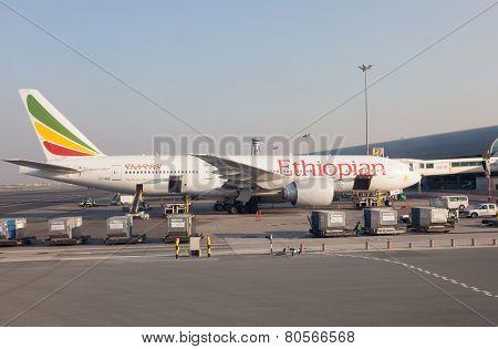 Ethiopian Airlines Airplane in Dubai