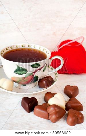 Valentine's Day Tea Time Still Life With Heart Shaped Chocolates