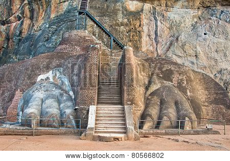 The Lions Paw Rock Entrance At Sigiriya, Sri Lanka
