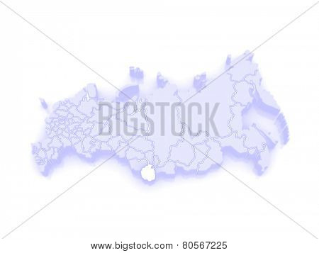 Map of the Russian Federation. Altai Republic. 3d