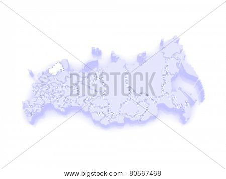Map of the Russian Federation. Republic of Karelia. 3d