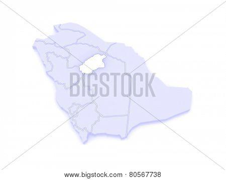 Map of Al Qasim. Saudi Arabia. 3d