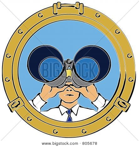 Man Looking Through Portal With Binoculars