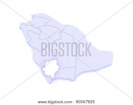 Map of Asher. Saudi Arabia. 3d