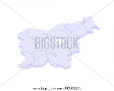 Map of Zasavsky region (Zasavska regia). Slovenia. 3d