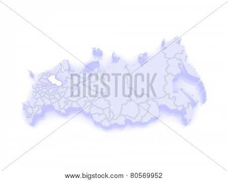 Map of the Russian Federation. Vologda region. 3d