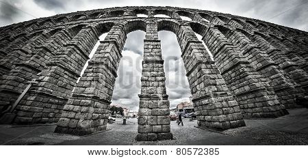 Old Roman aqueduct at Segovia.