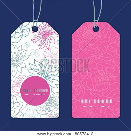 Vector gray and pink lineart florals vertical round frame pattern tags set