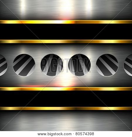 Background metal texture with holes, perforation 3D vector illustration.