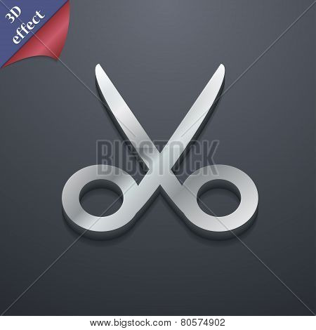 Scissors Hairdresser Icon Symbol. 3D Style. Trendy, Modern Design With Space For Your Text Vector