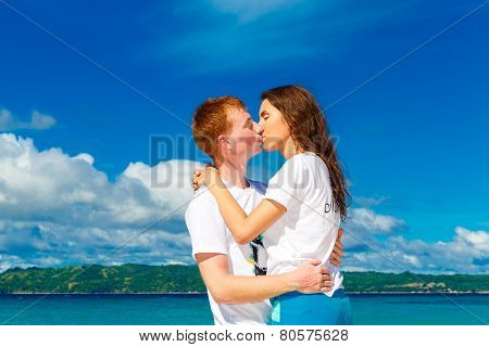 Just Married Young Happy Loving Couple Having Fun On The Tropical Beach