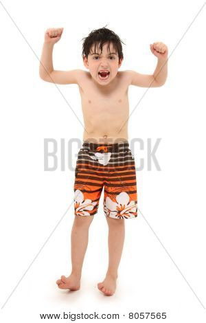 Boy In Swim Suit Making Silly Faces