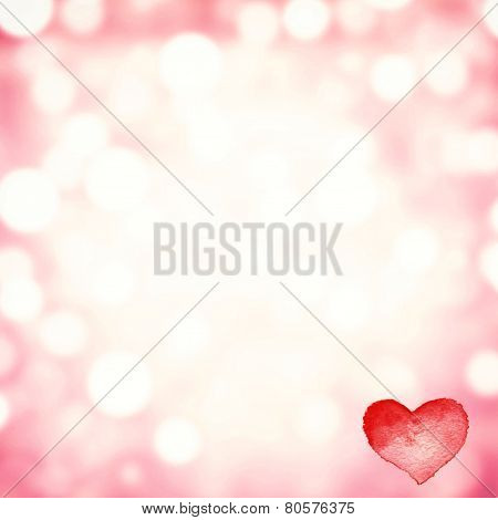 Happy Valentine's Day Card Hearts Light Red  Background With Abstract Bokeh.