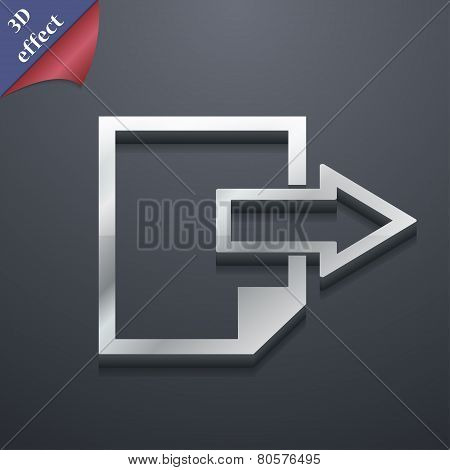 Send Export File Icon Symbol. 3D Style. Trendy, Modern Design With Space For Your Text Vector