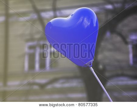 Heart Shaped Blue Balloon