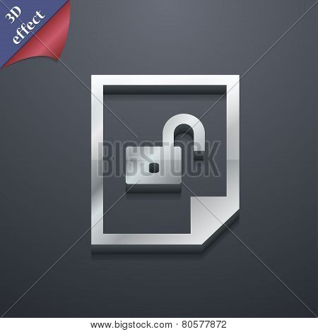File Unlocked Icon Symbol. 3D Style. Trendy, Modern Design With Space For Your Text Vector