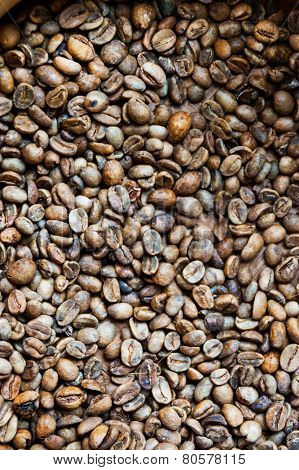 Dry And Not Roasted Coffee Beans Close Up