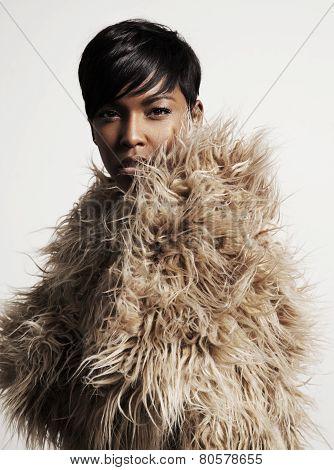 Woman In A Faux Fur