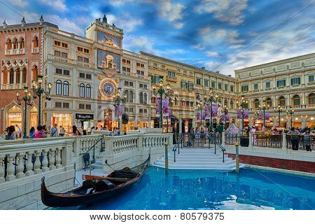 Casino The Venetian , Macao - June 1 , 2014:  interiors view of the Venetian Casino hotel in Macao Island