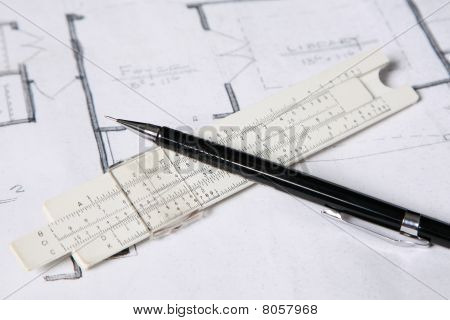 Close focus on an architect's tools