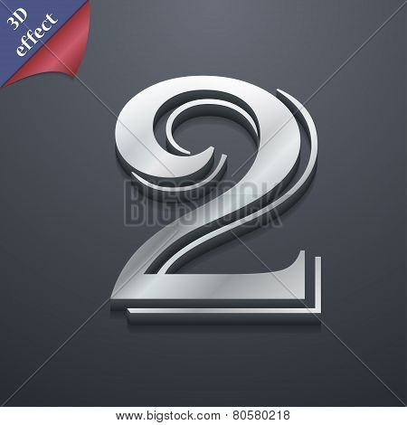 Number Two Icon Symbol. 3D Style. Trendy, Modern Design With Space For Your Text Vector