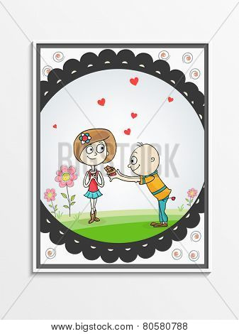 Greeting card design with cute boy offering chocolate to his beloved for Happy Valentines Day celebration.