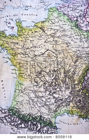Handmade Ancient Map Of France
