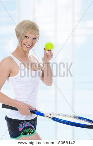 Beautiful Girl With A Tennis Racquet