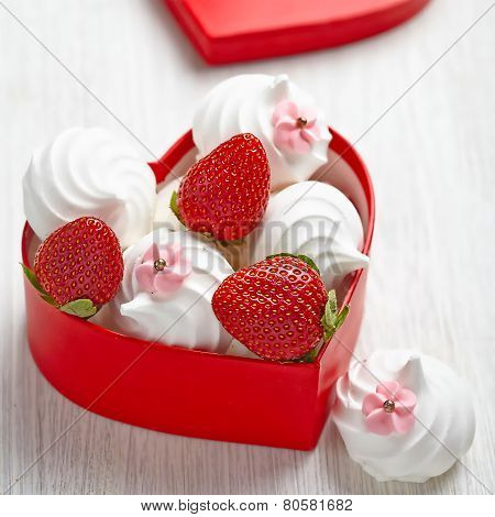 Strawberry and meringue for Valentine's Day